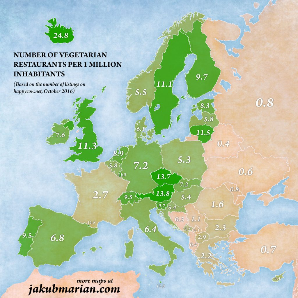 Map of 'vegetarian friendliness' (number of vegetarian restaurants) in Europe by country