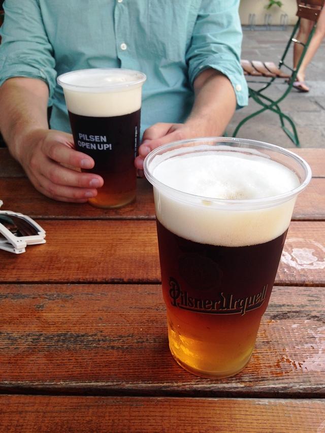řezané pivo - half Pilsner Urquell and half Dark Kozel beer