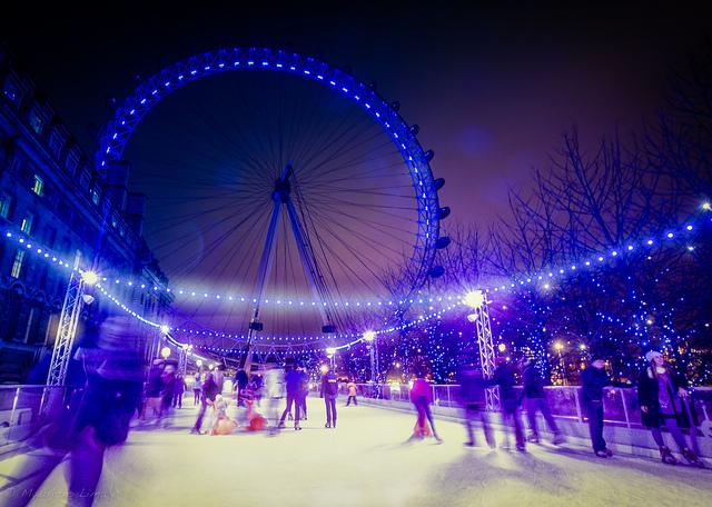Ice skating in London at the London Eye