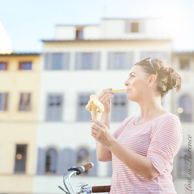 Florence Gelato by Sophie Delauw - Nardia eating gelato in Piazza Santa Croce near Carraia