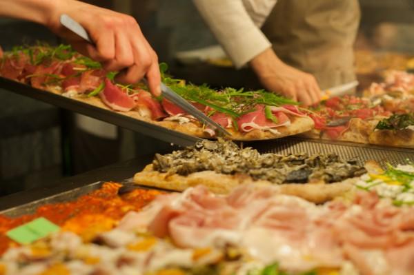 Pizza from a local pizzeria sotto casa (in our case, in Prati!)