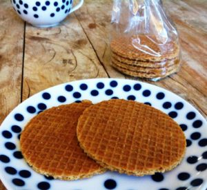 Two stroopwafels on a plate